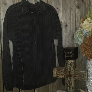 Black White Pin Striped BKE Stretch Shirt